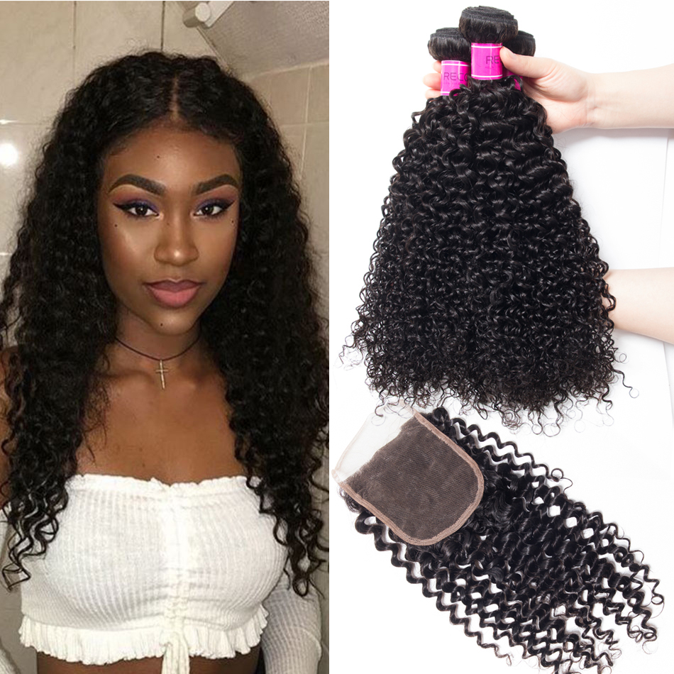 Brazilian Curly Wave Virgin Hair 3 Bundles With Lace Closure