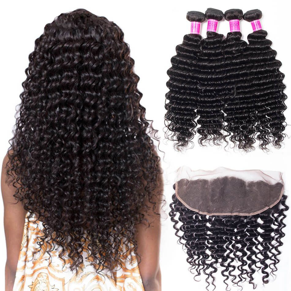 Brazilian Deep Wave 4 Bundles With Lace Frontal Closure