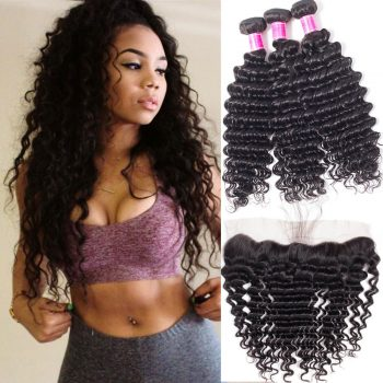 Brazilian Deep Wave Virgin Hair With Lace Frontal