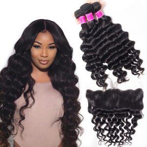 Brazilian Loose Deep Hair Bundles With Lace Frontal Sale