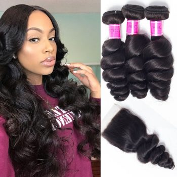 Brazilian Loose Wave 4 Bundles With Lace Closure
