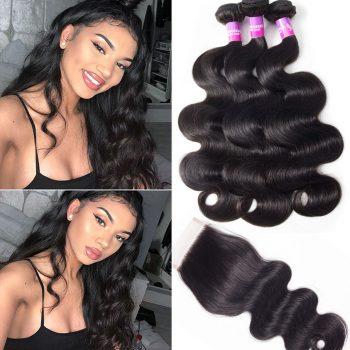 Brazilian Straight Hair 4 Bundles With Lace Clousre