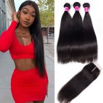 Brazilian Straight Virgin Hair 3 Bundles With Closure
