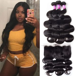 Brazilian Virgin Hair Body Wave 3 Bundles With Frontal