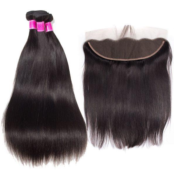 Brazilian Virgin Hair Straight 3 Bundles With Frontal