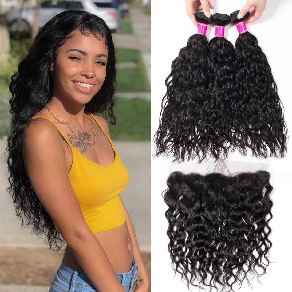 Brazilian Wet and Wavy Hair 4 Bundles with Frontal