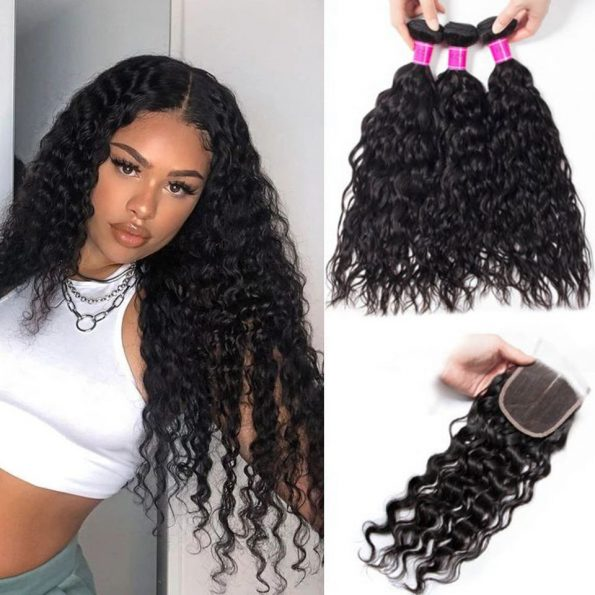 Indian water wave 3 bundles with closure