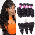 Malaysian loose wave 3 bundles with frontal