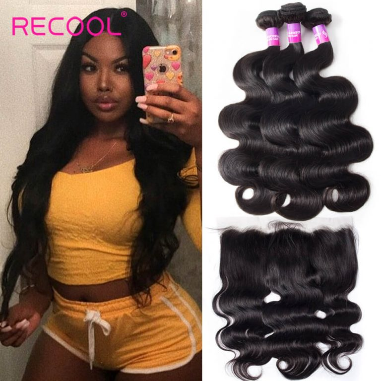Brazilian Hair Weave Bundles Body Wave Lace Frontal Closure With Bundles 3 Pcs/Lot Virgin Human Hair Bundles & Closure