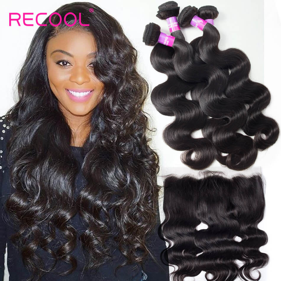 Recool Hair Lace Frontal Closure With Bundles Brazilian Body Wave Hair 4 Bundles With Frontal 8A Virgin Human Hair