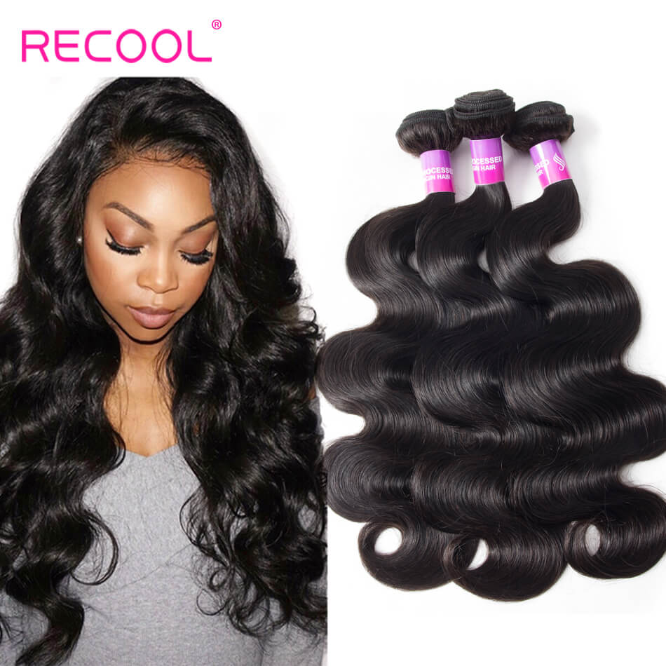 Body Wave Virgin Hair 4 Bundles Recool Hair 8A High Quality Brazilian Hair Weave Bundles