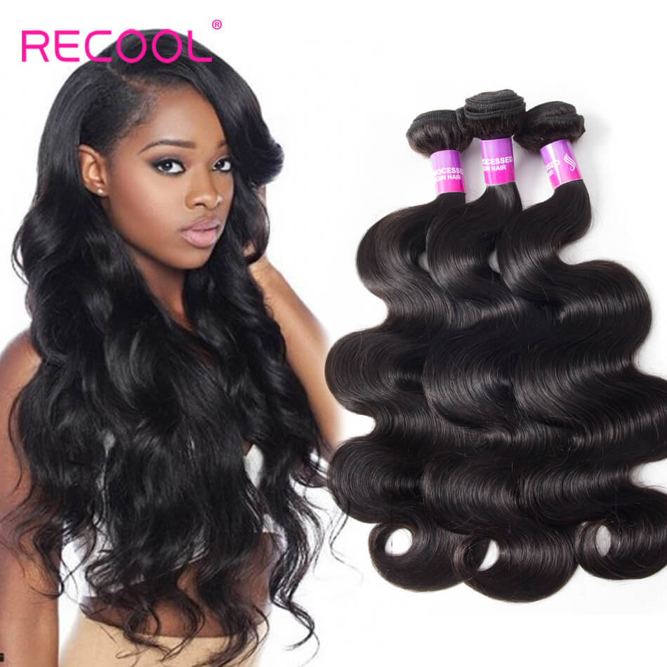 Hair Body Wave 3 Bundles Deal Recool Hair 8A Grade Virgin Human Hair Bundles Wavy Hair