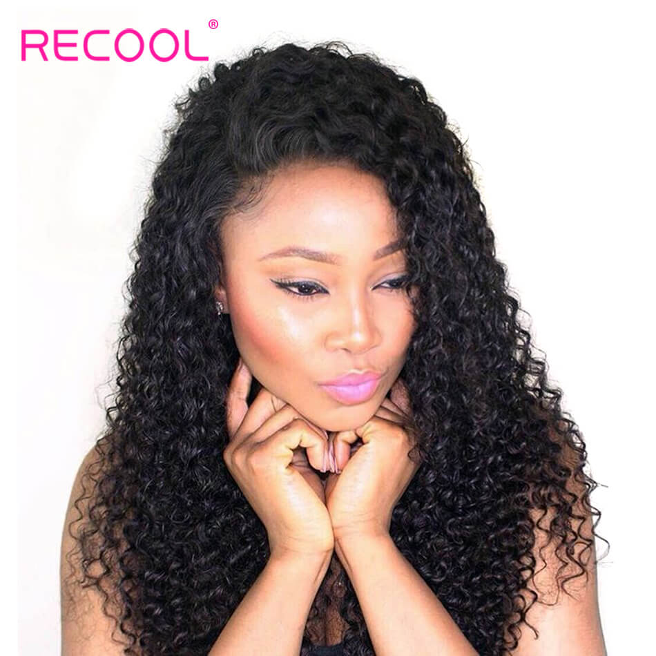 Recool Curly Human Hair Bundles With Frontal 100% Virgin Hair 4 Bundles With Frontal 8A Luxury Quality
