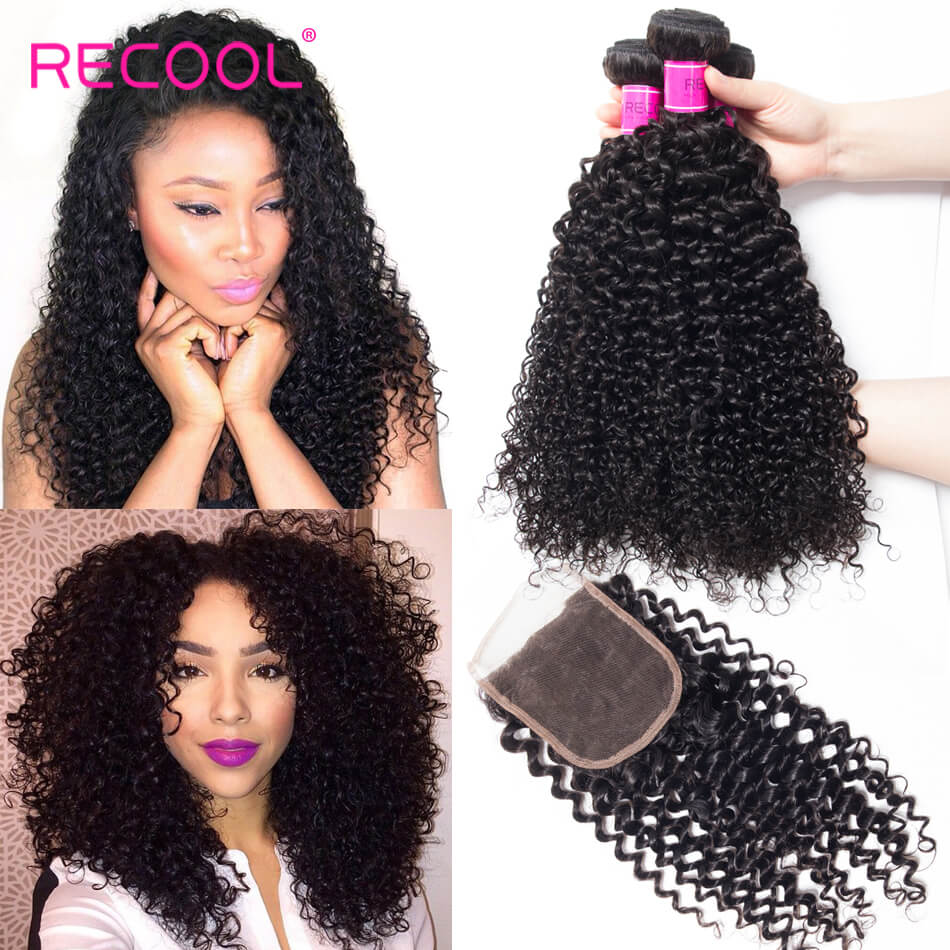 Recool Brazilian Curly Virgin Hair With Closure 100% Human Hair Bundles With Closure Jerry Curly