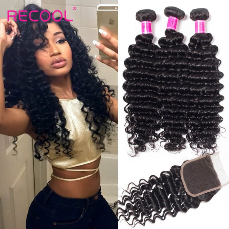 Brazilian Deep Wave Bundles With Closure Recool Hair 3 Bundles With Closure 100% Virgin Human Hair