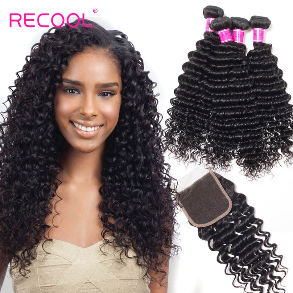 Recool Hair Deep Wave Bundles With Closure 4 Bundles Human Hair Bundles With Closure