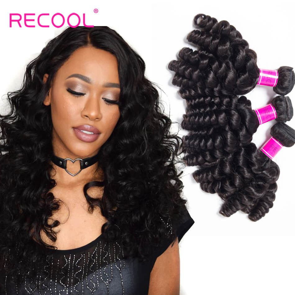 Brazilian Hair Weave Funmi Hair 3 Bundles Recool Hair Spring Egg Curly Virgin Hair Bundles Color 1B#