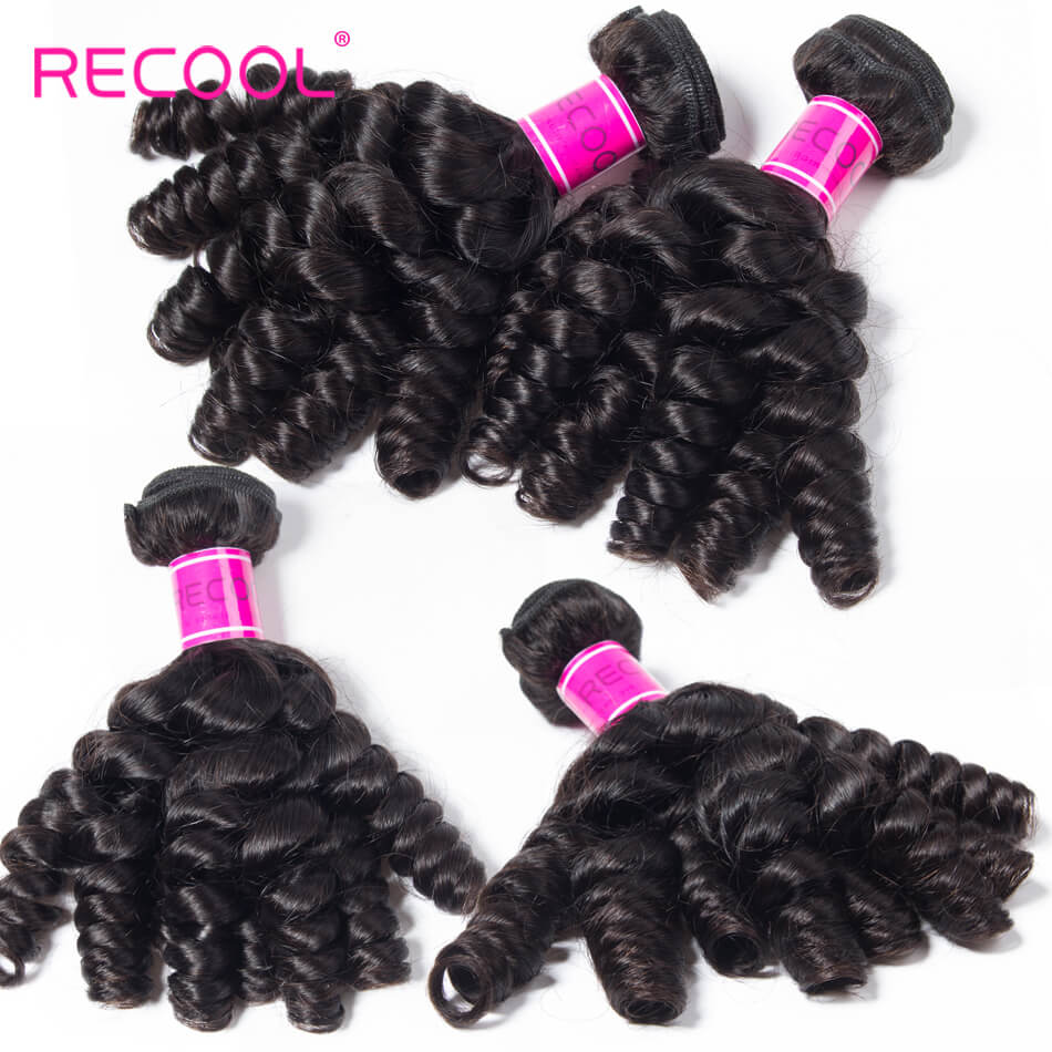 Recool Brazilian Virgin Hair Bouncy Curly Weave 4 Bundles Funmi Hair 100% Remy Human Hair Bundles