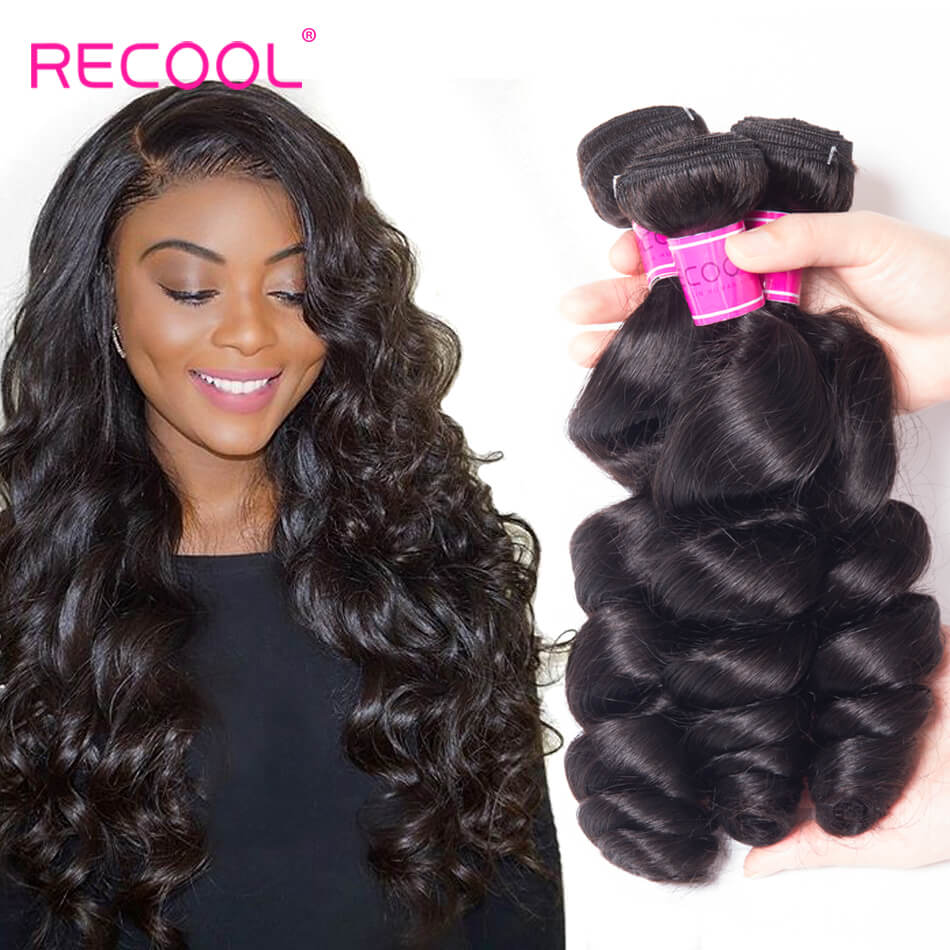 Virgin Hair Loose Wave 4 Bundles Recool Hair Soft Human Hair Weave Bundles 8A Best Quality