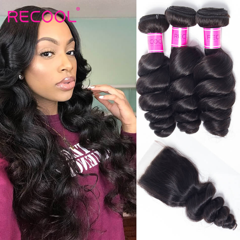 Recool Hair Loose Wave Bundles With Closure 100% Remy Virgin Hair 4 Bundles Hair With Closure