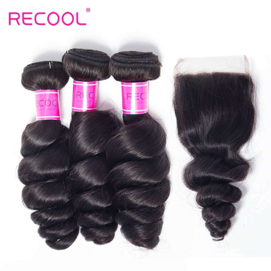 Recool Hair Loose Wave Bundles With Closure 3 Bundles With Closure Spring Loose Curly 8A Grade