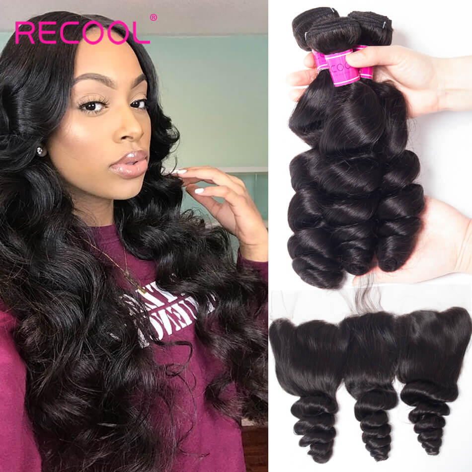Recool Hair With Frontal Loose Wave 100% Brazilian Virgin Remy Hair With Frontal Spring Loose Curly 3 Bundles and Closure