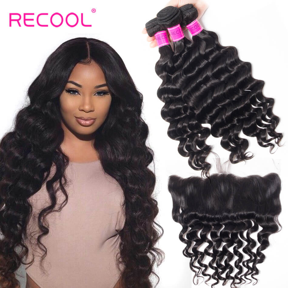 Loose Deep Wave Bundles with Lace Frontal 100% Virgin Human Hair Loose Deep Curly Frontal With Bundles Online