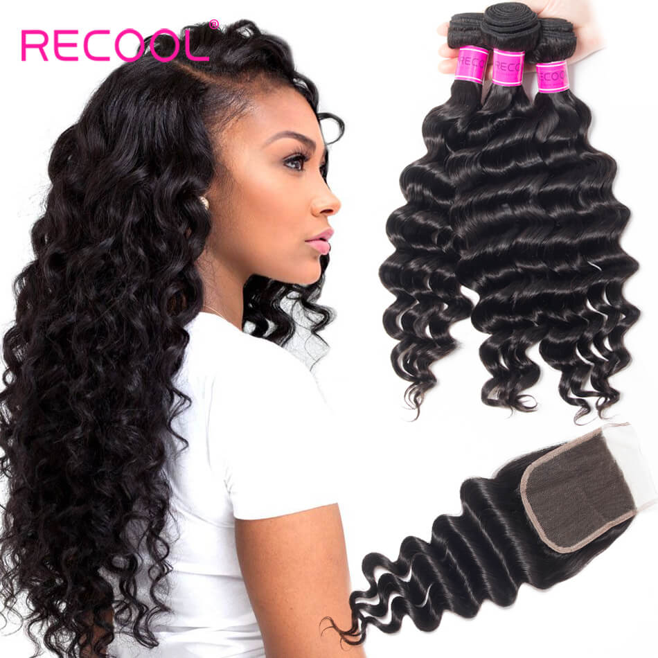 Loose Deep Wave 3 Bundles Human Hair Weave With Closure Top Quality Hair Bundles With Closure