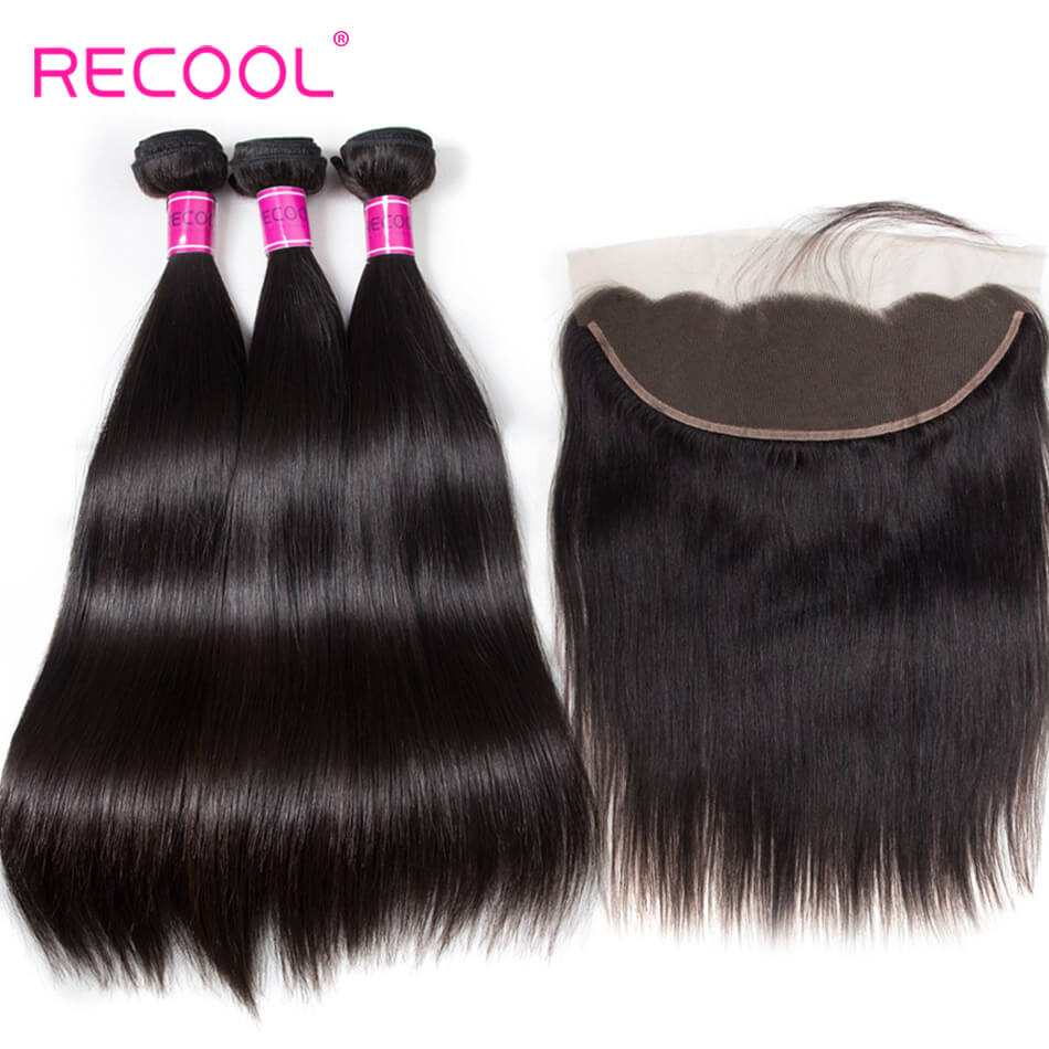 Brazilian Straight Virgin Hair 4 Bundles With Frontal Recool Hair 8A Human Hair Frontal With Bundle Deals