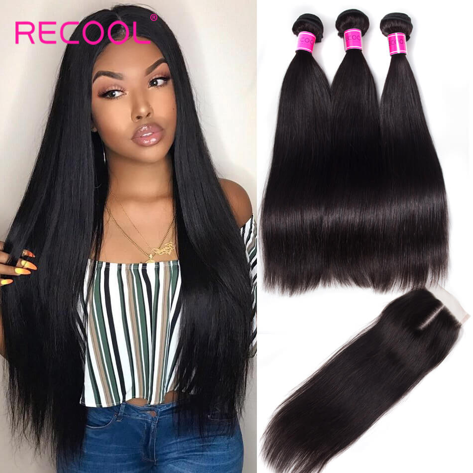 Recool Hair Brazilian Straight Virgin Hair 3 Bundles With Closure 8A Best Quality Human Hair With Closure