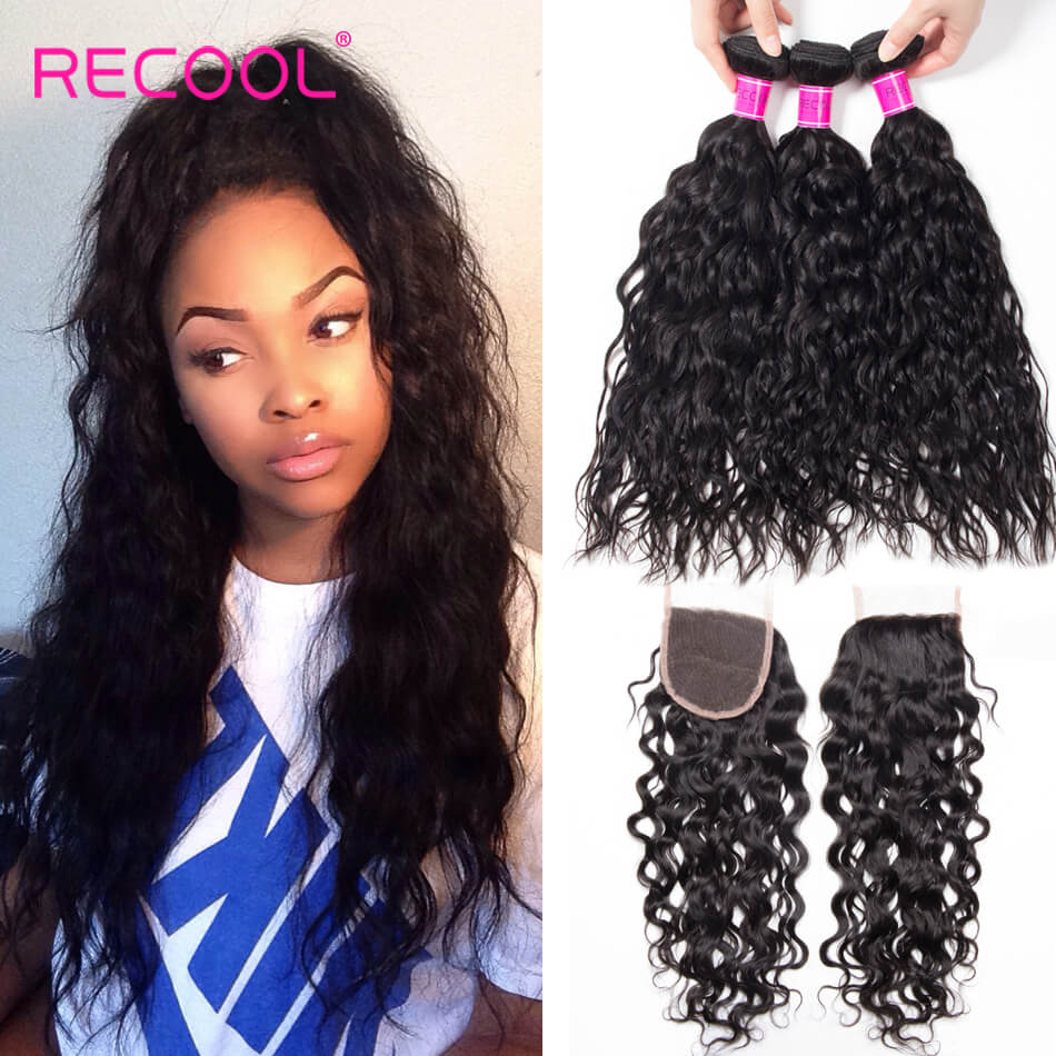 Water Wave Bundles With Closure Recool Hair 4 Bundles Wet And Wavy Human Hair Weave With Closure