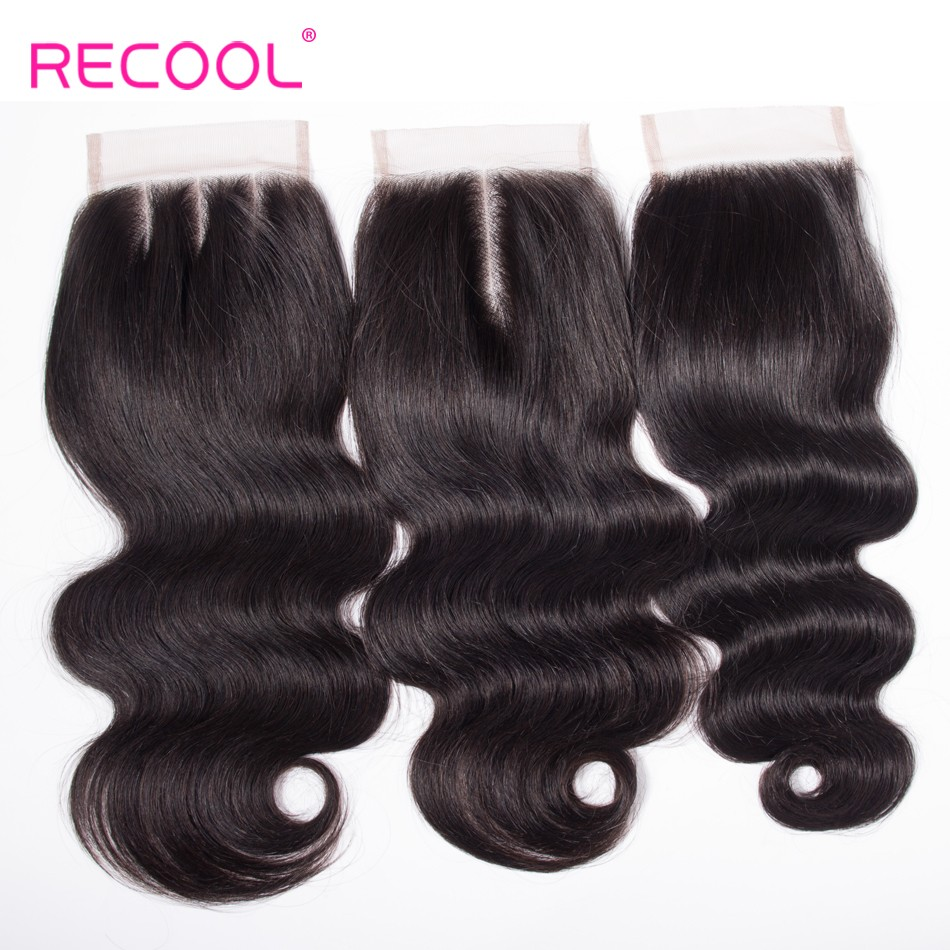 Recool Virgin Body Wave Human Hair 5*5 Lace Closure 1 PCS