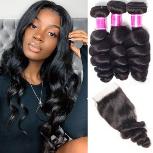 Sale Brazilian Loose Wave 3 Bundles With Lace Closure