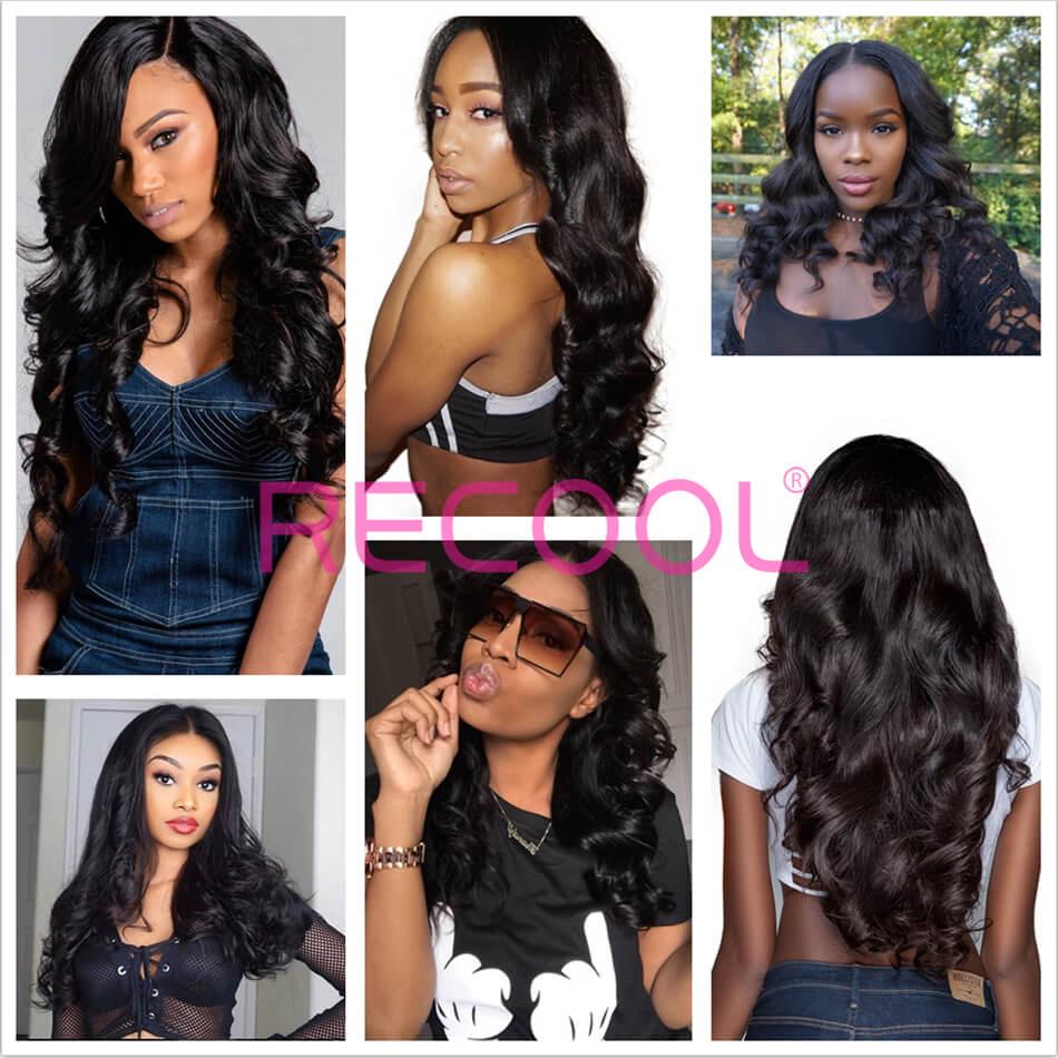 Recool Hair Loose Wave Bundles With Closure 100% Remy Vrigin Hair Loose Wave Bundles Hair With Closure