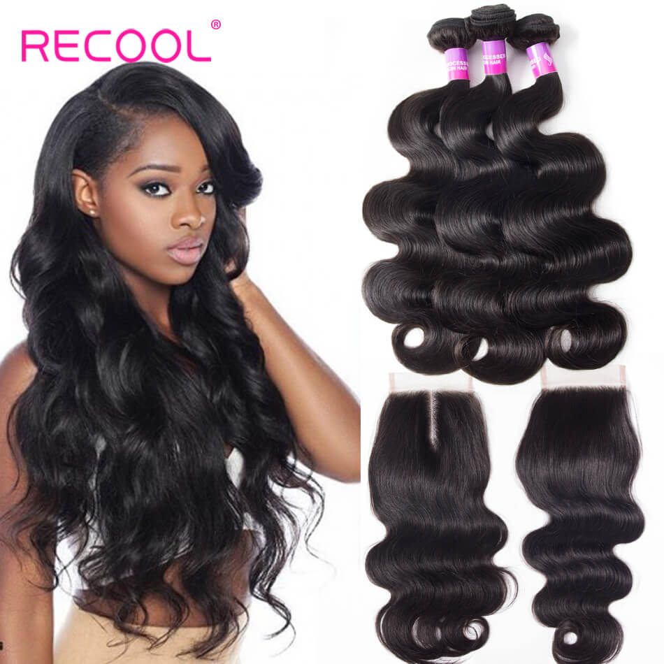 Recool Hair Body Wave Hair 3 Bundles With Closure 8A Grade Virgin Human Hair Bundles With Closure