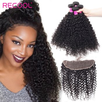 Recool Malaysian Curly Virgin Hair Bundles With Frontal 100% Virgin Human Hair 3 Bundles With Frontal Jerry Curly