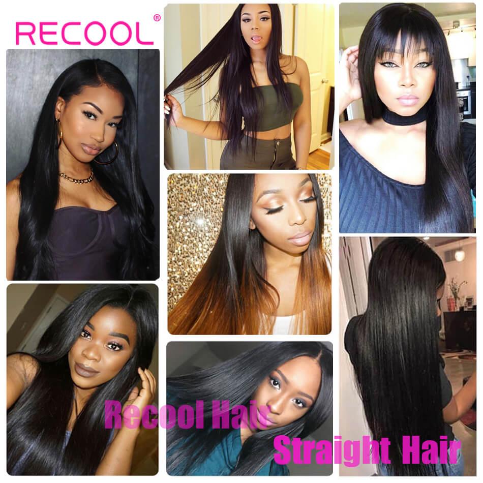 Recool Hair Straight Hair Bundles 100% Virgin Human Hair Weave Bundles 8A Premium Remy Hair