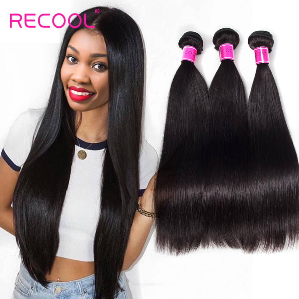 Recool Hair Hair Weave 3 Bundles 8A Grade 8A Mink Hair High Quality Brazilian Straight Hair