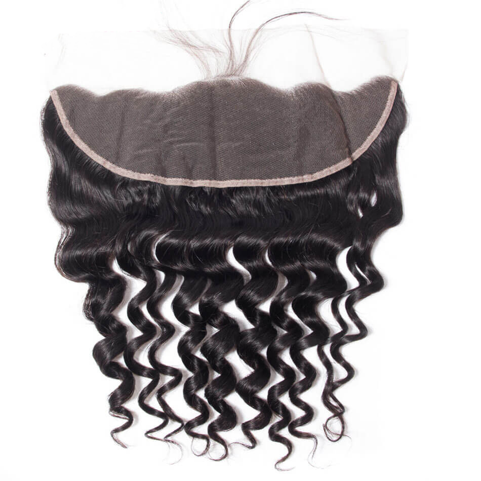 10A Loose Deep Human Hair Extensions 13×4 Frontal