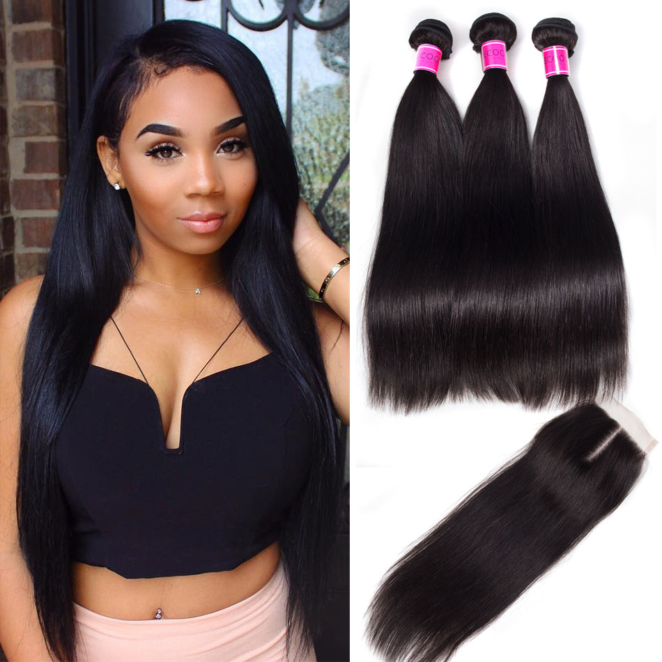 10A Malaysian Straight Hair Bundles with Closure