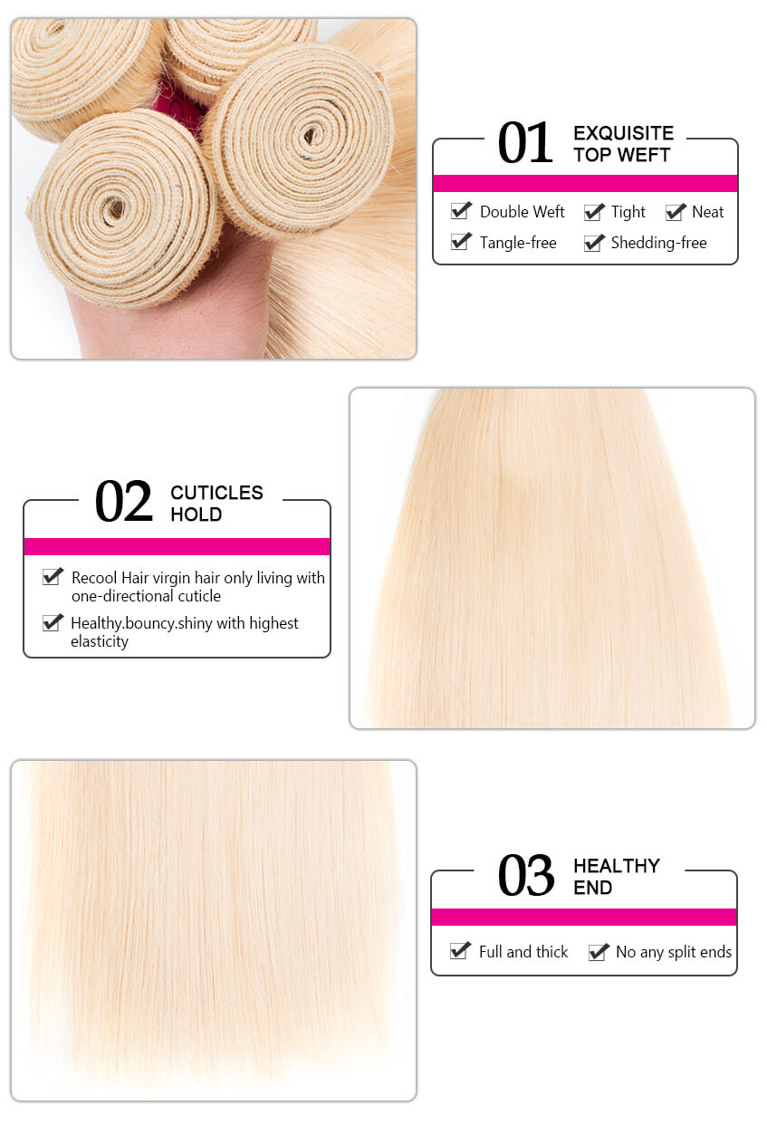 Virgin Human Hair 613 Blonde Straight hair,613 Blonde Straight Lace Closure