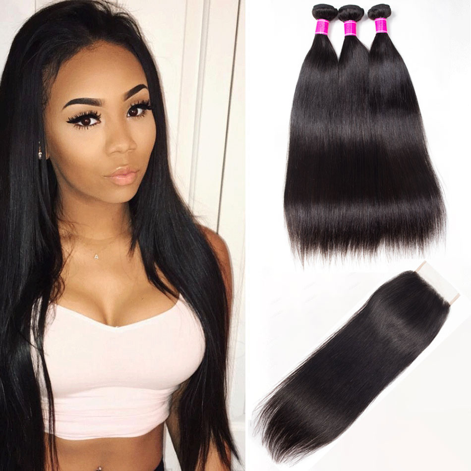Recool Hair Peruvian Straight Hair 3 Bundles With Closure 10A Remy Virgin Human Hair Bundles With Closure