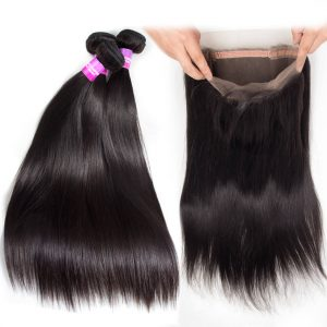 Brazilian Virgin Human Hair 3 Bundles With 360 Lace Frontal