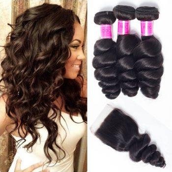 Cheap Indian Loose Wave Hair Bundles With Closure Deals 10A