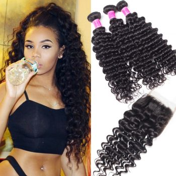 Cheap Peruvian Deep Wave 3 Bundles With Lace Closure Sale