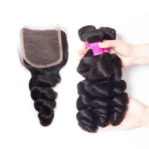 Cheap Peruvian Loose Wave Hair Bundles With Closure