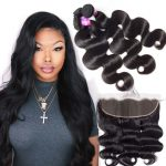 Indian Body Wave Hair 4 Bundles With Lace Frontal Closure