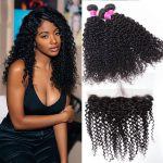 Indian Curly Hair Wave 3 Bundles With Frontal Deals