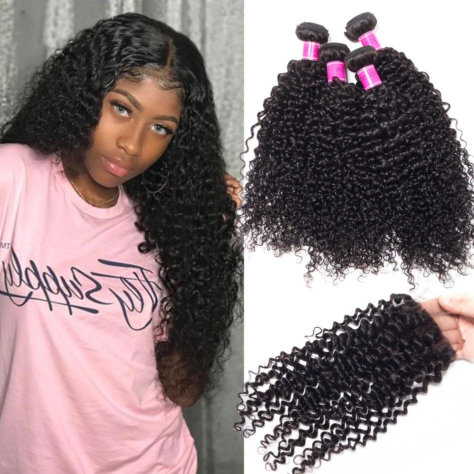 Indian Hair 4 Bundles Curly Hair Extensions With Closure