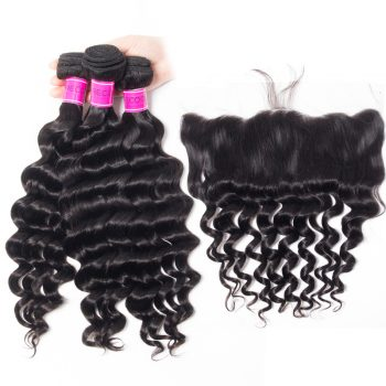 Indian Lace Frontal With Loose Deep Wave Bundles 4Pcs